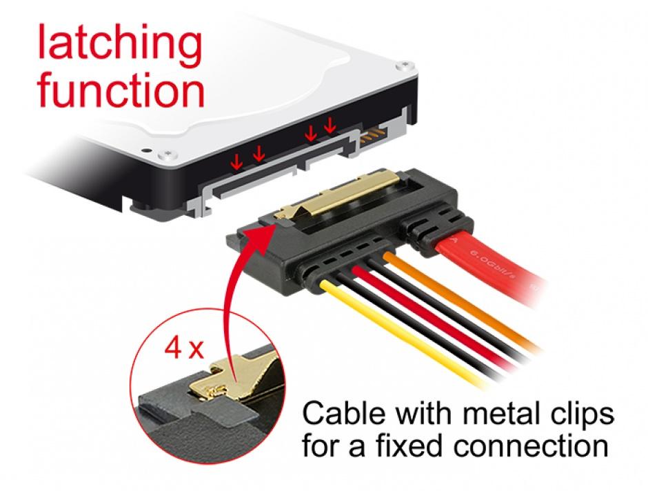 Imagine Cablu de date + alimentare SATA 22 pini 5V 6 Gb/s cu clips la Alimentare 2 pini + SATA 7 pini 10cm,