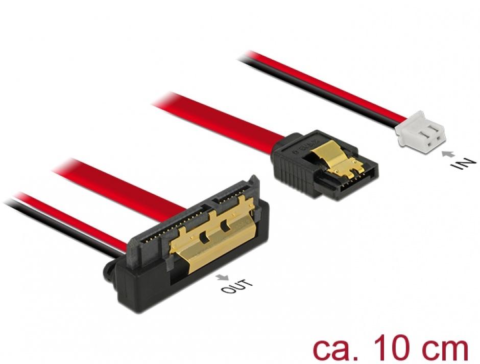 Imagine Cablu de date + alimentare SATA 22 pini 5V 6 Gb/s cu clips la Alimentare 2 pini + SATA 7 pini unghi jos/drept 10cm, Delock 85239