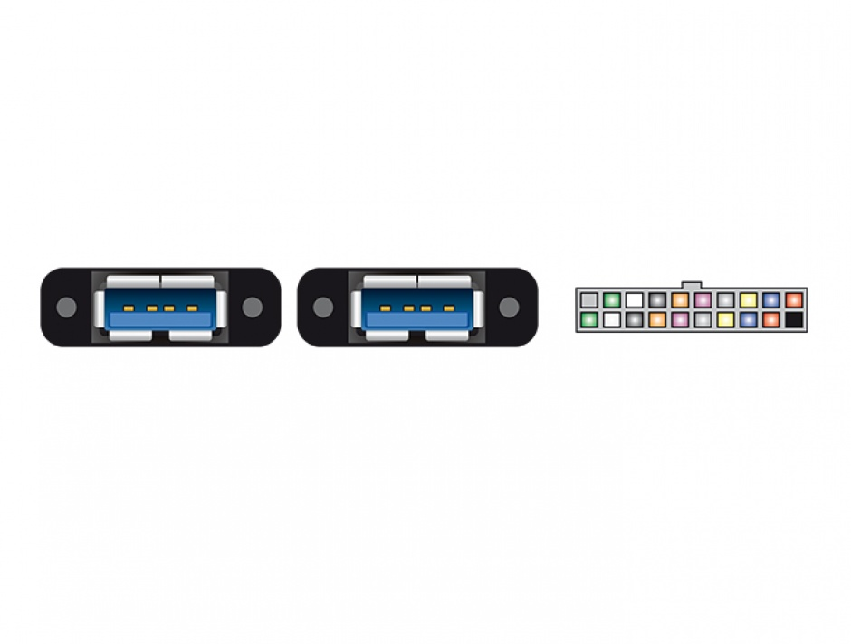 Imagine Cablu pin header USB 3.0 19 pini 2.00 mm la 2 x USB 3.0-A M-M 0.8m, Delock 85244