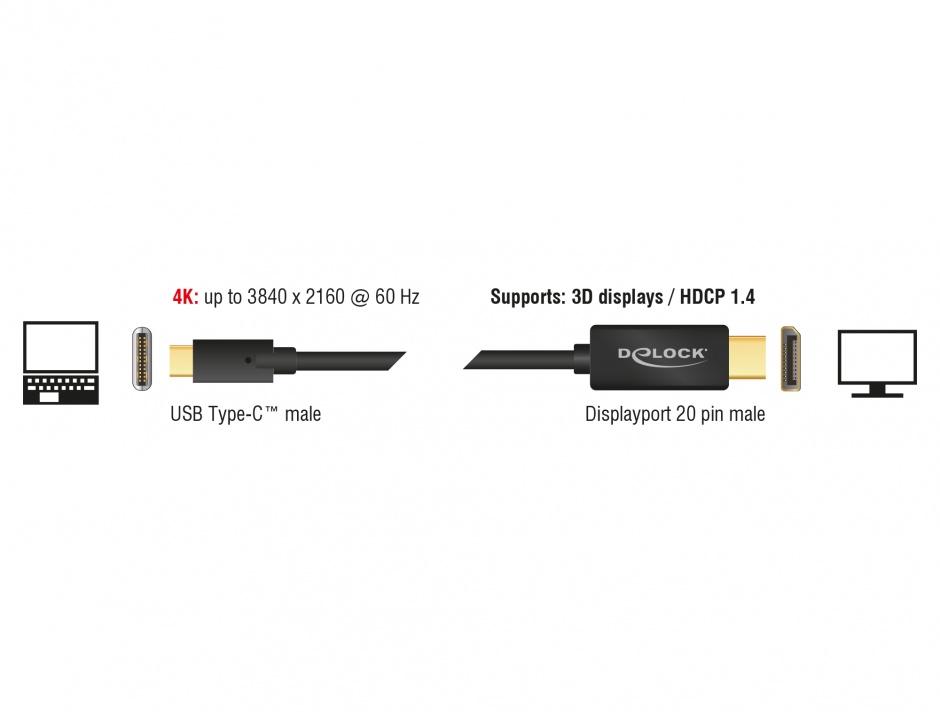 Imagine Cablu USB tip C la Displayport (DP Alt Mode) 4K 60 Hz T-T 1m, Delock 85255