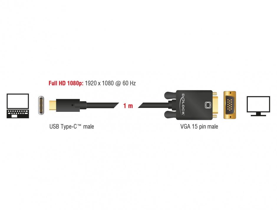 Imagine Cablu USB tip C la VGA (DP Alt Mode) Full HD 1080p 1m T-T Negru, Delock 85261