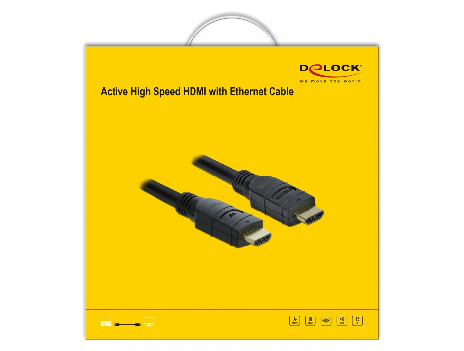 Imagine Cablu activ HDMI 4K60Hz T-T 15m Negru, Delock 85285