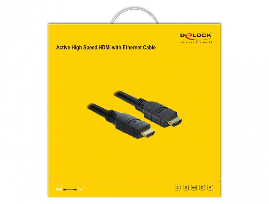 Imagine Cablu activ HDMI 4K60Hz T-T 20m Negru, Delock 85286