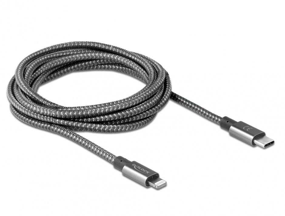 Imagine Cablu de date si incarcare USB-C la iPhone Lightning MFI 2m Gri, Delock 85298