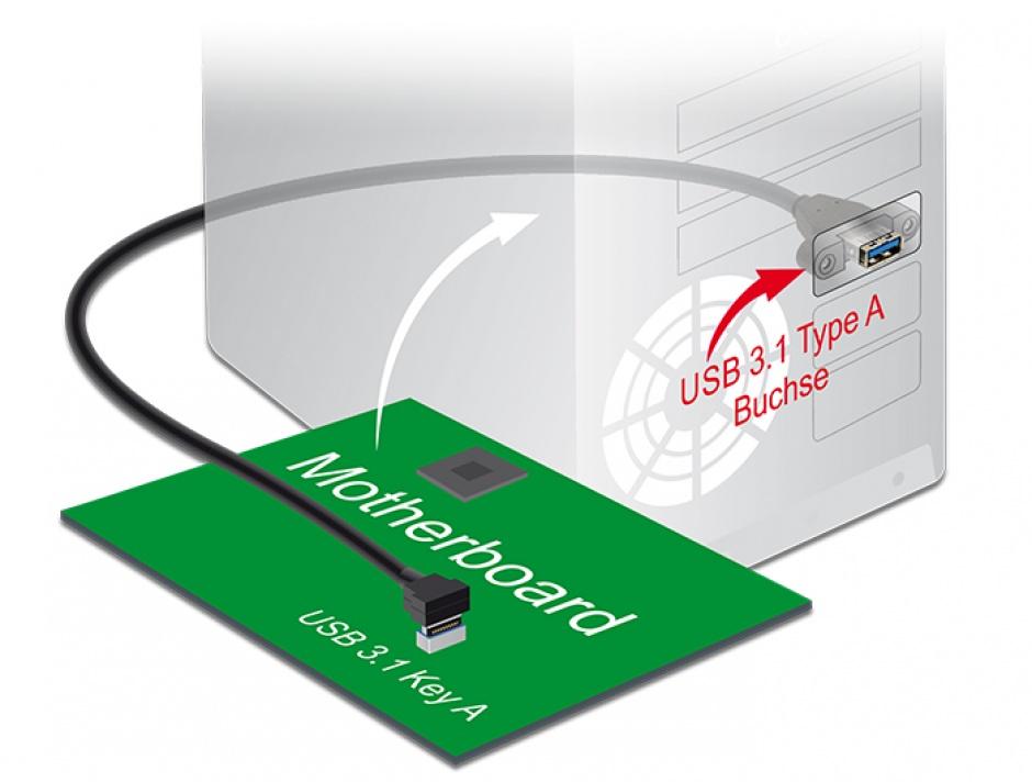 Imagine Cablu USB 3.1 Gen 2 key A 20 pini la USB 3.1-A Gen 2 T-M panel-mount 70cm, Delock 85325