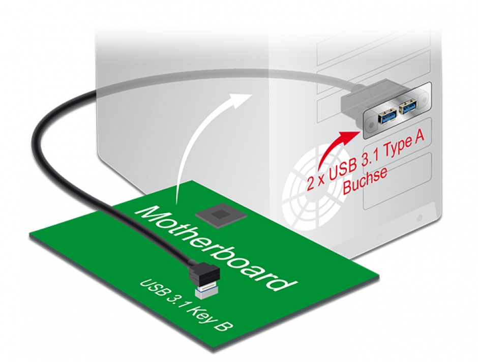 Imagine Cablu panel-mount USB 3.1 Gen 2 key B 20 pini la 2 x USB 3.1-A Gen 2 T-M 45cm, Delock 85327