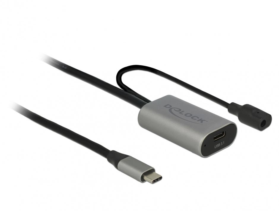 Imagine Cablu prelungitor USB 3.1-C Gen 1 activ 5m T-M Negru, Delock 85392
