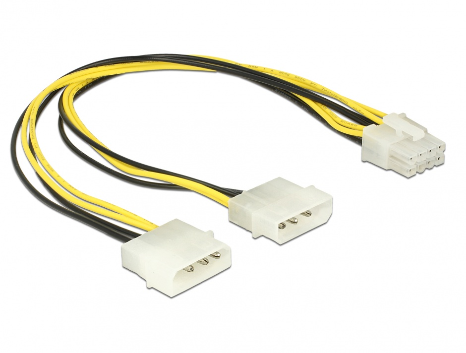 Imagine Cablu alimentare EPS 8 pini la 2 x Molex T-T 30cm, Delock 85453