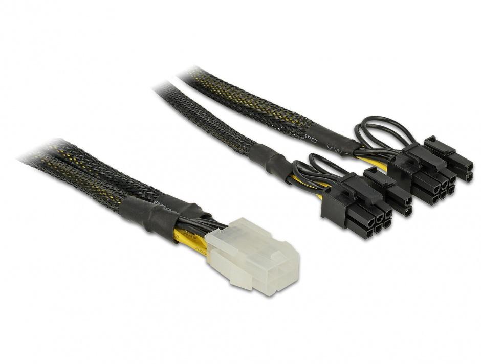 Imagine Cablu de alimentare PCI Express 6 pini la 2 x 8 pini M-T 30cm, Delock 85455