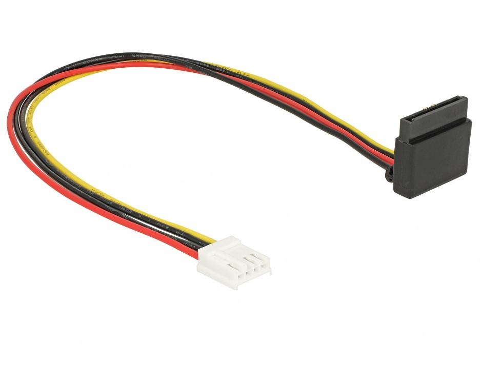 Imagine Cablu de alimentare SATA 15 pini la Floppy 4 pini M-M 30cm, Delock 85510