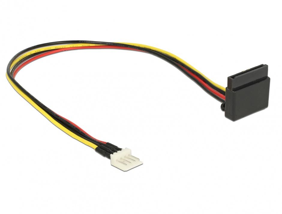 Imagine Cablu alimentare SATA unghi 90 grade la Floppy 4 pini 30cm, Delock 85511