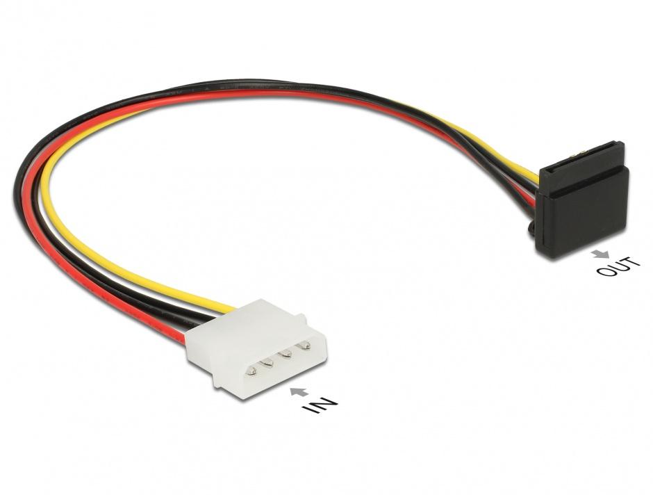 Imagine Cablu alimentare SATA unghi 90 grade la Molex 4 pini 30cm, Delock 85513