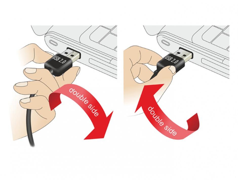 Imagine Cablu EASY-USB 2.0 tip A la EASY-USB 2.0 tip A unghi stanga/dreapta T-T 2m negru, Delock 85557