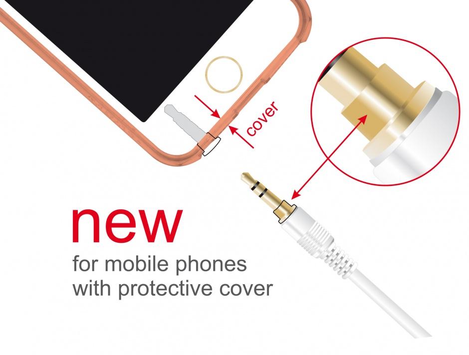 Imagine Cablu Stereo Jack 3.5 mm 3 pini (pentru smartphone cu husa) unghi 2m T-T alb, Delock 85569