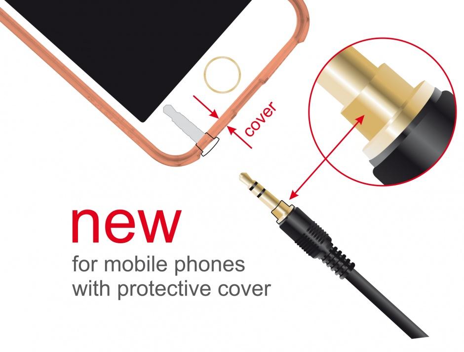 Imagine Cablu Stereo Jack 3.5 mm 3 pini (pentru smartphone cu husa) unghi 3m T-T Negru, Delock 85570