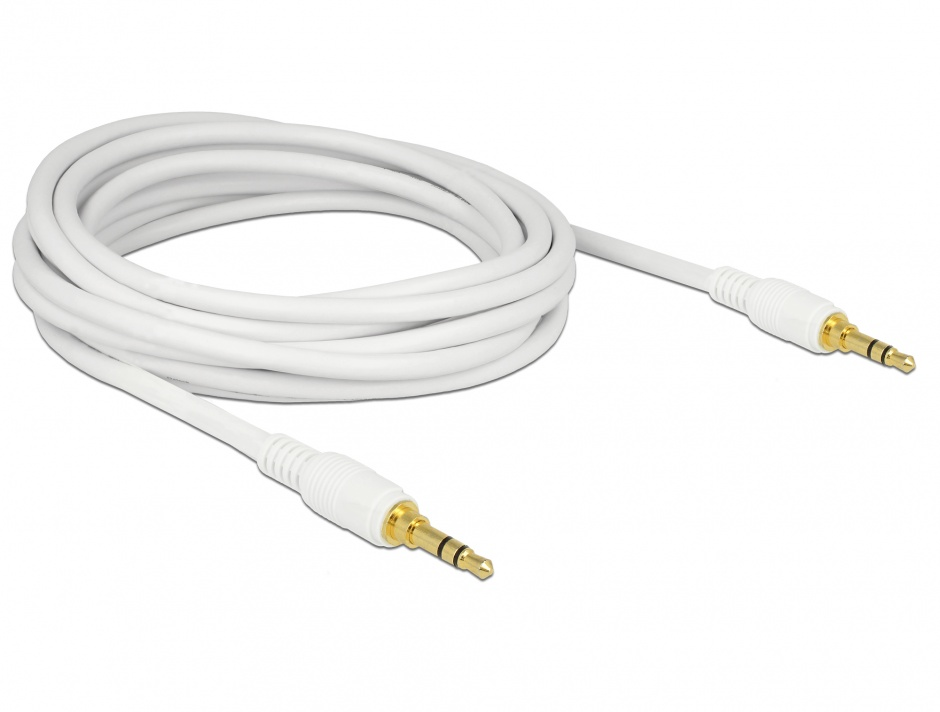 Imagine Cablu stereo jack 3.5mm 3 pini (pentru smartphone cu husa) Alb T-T 5m, Delock 85643