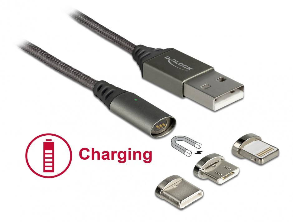 Imagine Cablu de incarcare magnetic USB la iPhone Lightning 8 pini / Micro USB / USB- C antracit 1m, Delock 85705