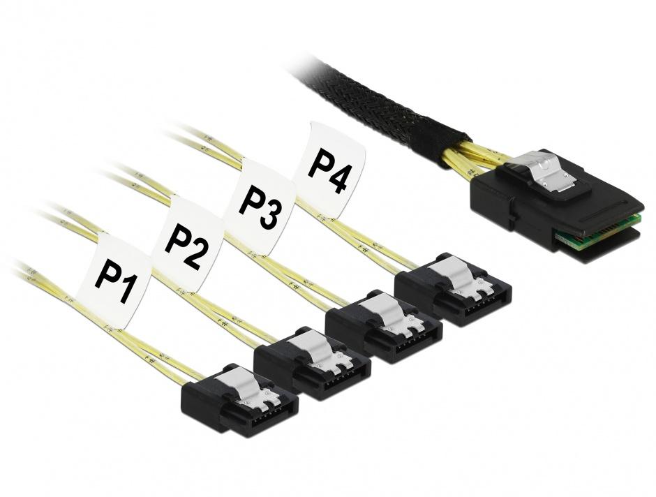 Imagine Cablu Mini SAS SFF-8087 la 4 x SATA 7 pini 1m metal, Delock 85731