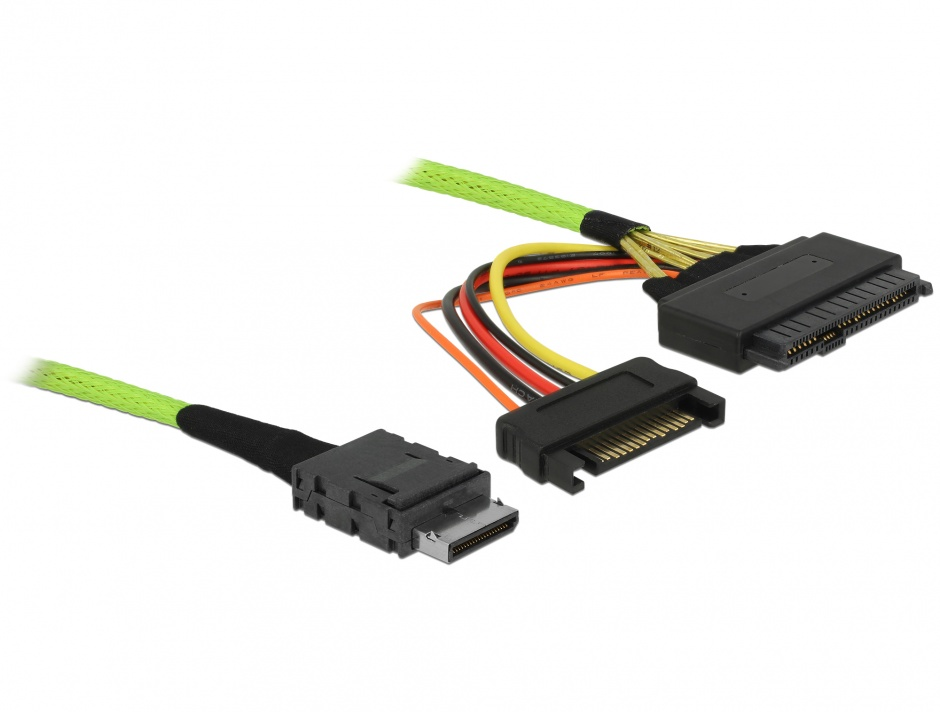 Imagine Cablu OCuLink PCIe SFF-8611 la U.2 SFF-8639 1m, Delock 85756