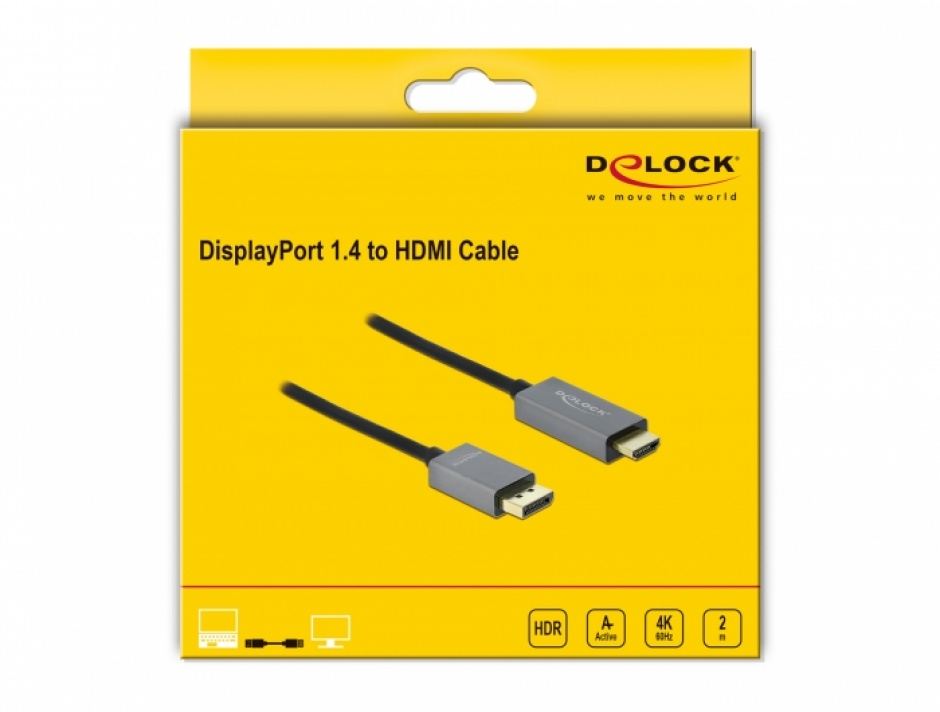 Imagine Cablu activ DisplayPort 1.4 la HDMI 4K@60 Hz (HDR) T-T 2m, Delock 85929