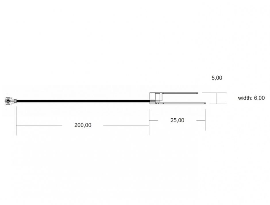 Imagine Antena WLAN MHF/ U.FL-LP-068 Compatible Plug 802.11 b/g/n -5 dBi 200 mm Internal 701 PIFA, Delock 86