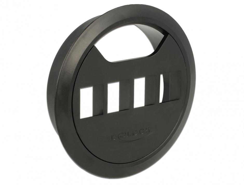 Imagine Carcasa pentru montare in masa 4 porturi Keystone 80 mm Negru, Delock 86283