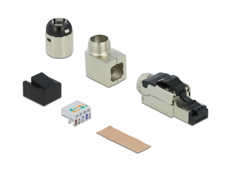 Imagine Conector RJ45 ecranat cat. 6A unghi, Delock 86289