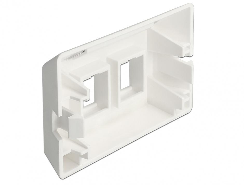 Imagine Priza cu 2 porturi Keystone pentru instalare mobila Alb, Delock 86291