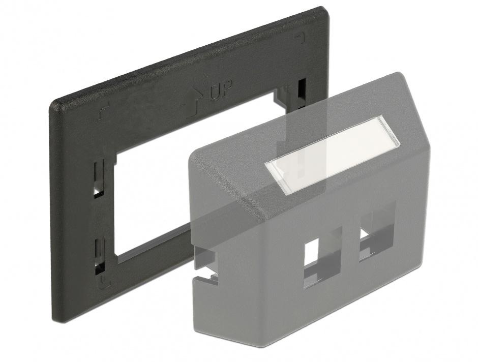 Imagine Placa de adaptare keystone pentru priza de instalare in mobilier Negru, Delock 86294