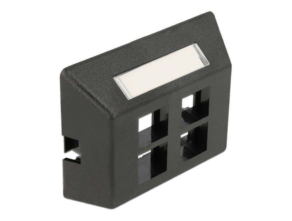 Imagine Priza cu 4 porturi Keystone pentru instalare mobila Negru, Delock 86297