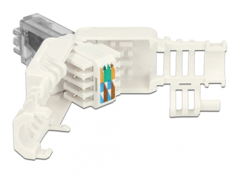 Imagine Set 2 bucati conector RJ45 Cat.6A pentru fir solid UTP toolfree, Delock 86417