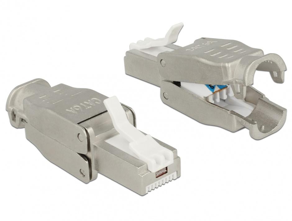 Imagine Conector RJ45 Cat.6A pentru fir solid UTP toolfree, Delock 86427