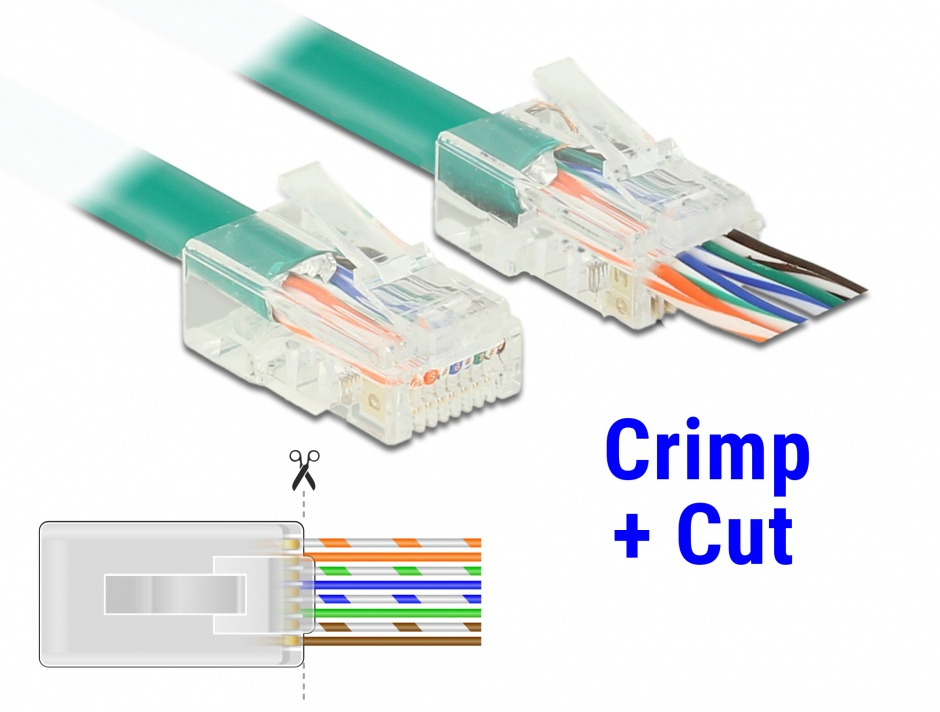 Imagine Set 20 buc mufe RJ45 cat 6 pentru fir solid UTP Crimp+Cut, Delock 86453