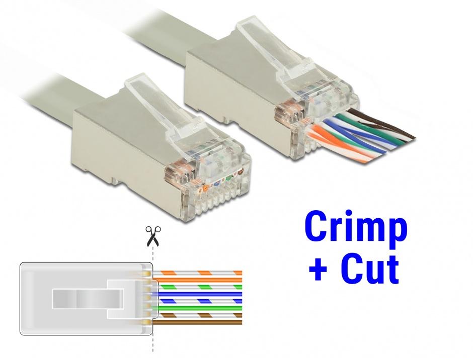 Imagine Set 20 buc mufe RJ45 cat 6 pentru fir solid STP Crimp+Cut, Delock 86454