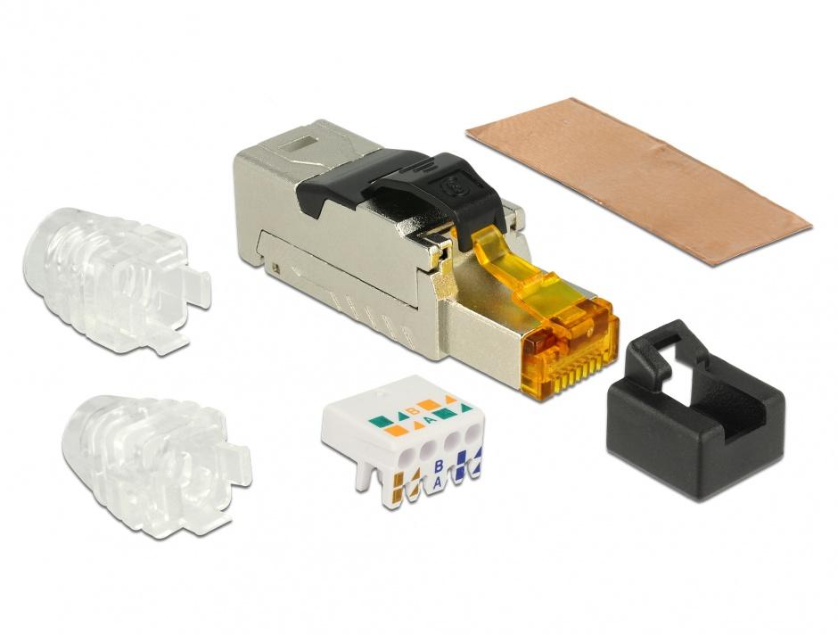 Imagine Conector de ansamblare RJ45 Cat.8 metal, Delock 86485