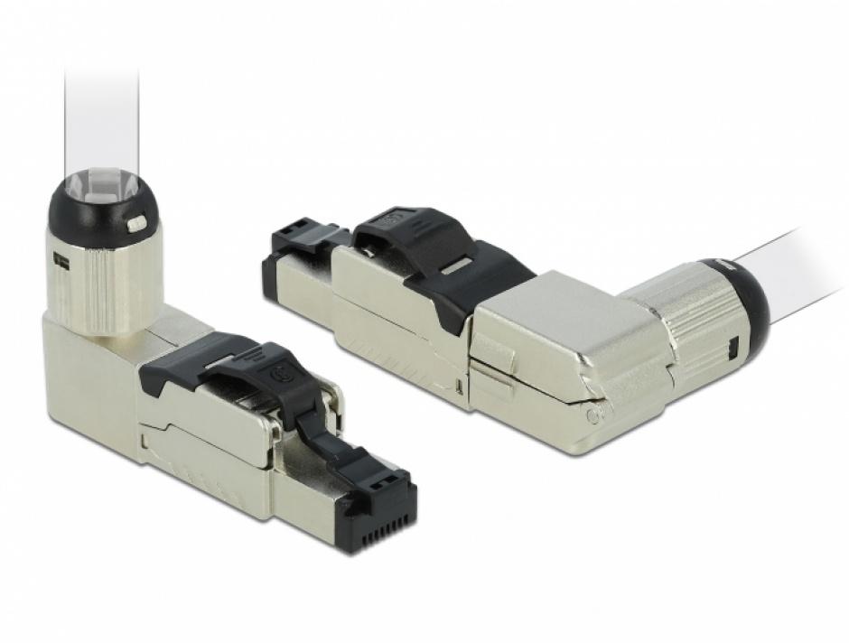 Imagine Conector RJ45 ecranat cat 8.1 unghi, Delock 86489