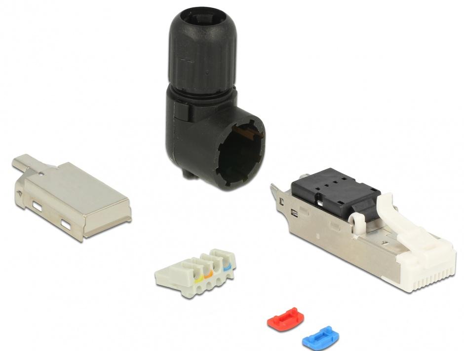 Imagine Conector de ansamblat RJ45 cat 5e pentru fir solid unghi, Delock 86495