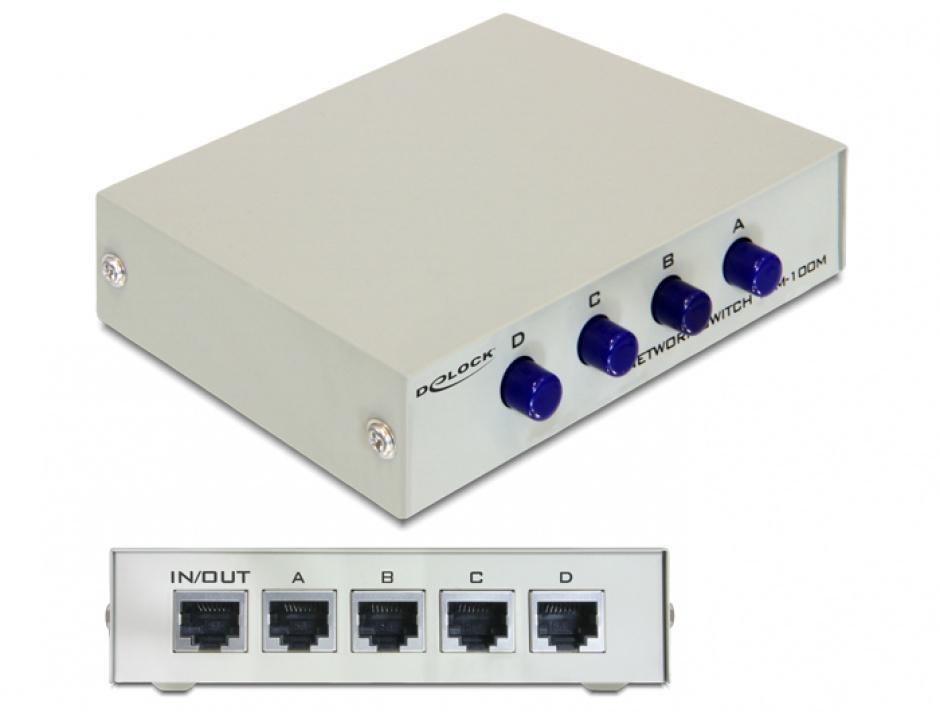 Imagine Switch Ethernet RJ45 10/100 Mb/s 4 Porturi manual, Delock 87588