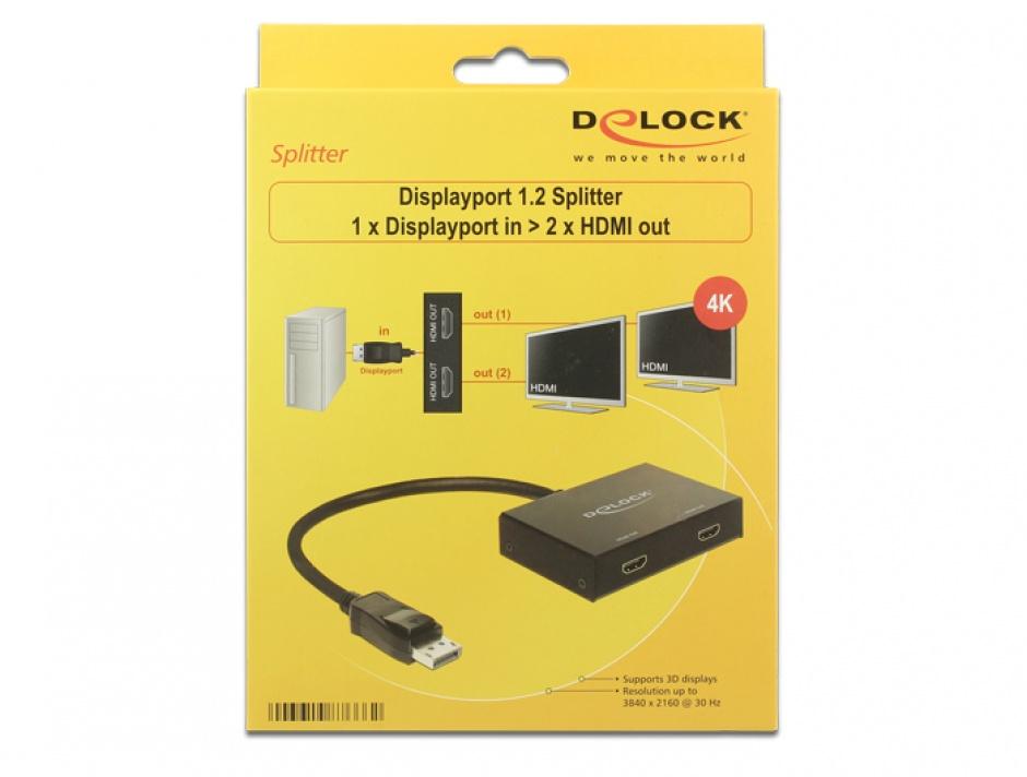 Imagine Multiplicator Displayport la 2 x HDMI 4k, Delock 87666