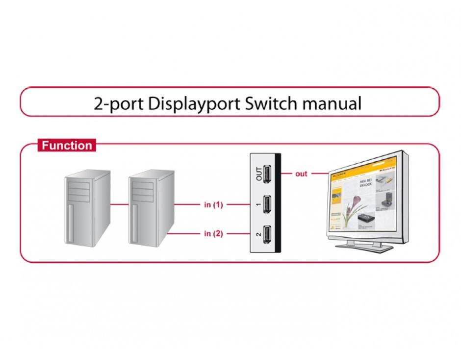 Imagine Switch Displayport 1.1 2 porturi manual, Delock 87668