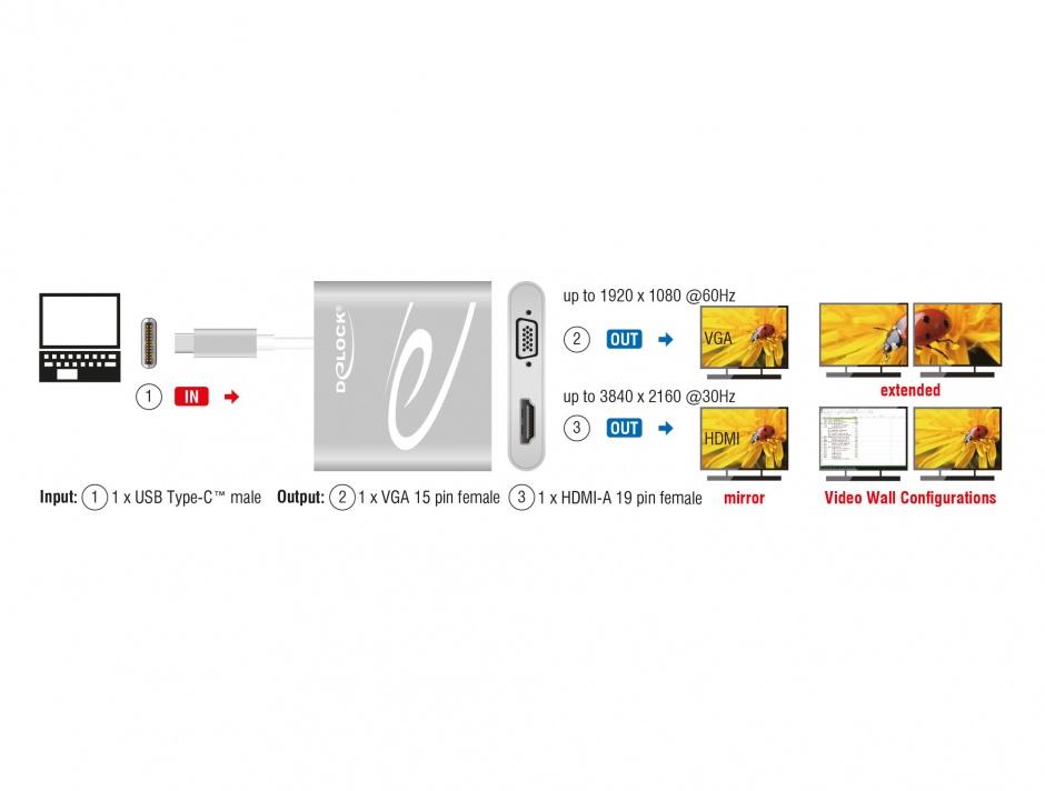 Imagine Adaptor USB-C (DP Alt Mode) la 1 x HDMI + 1 x VGA, Delock 87705
