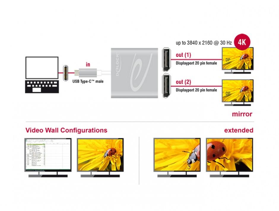 Imagine Multiplicator USB-C (DP Alt Mode) la 2 x Displayport 4K 30 Hz, Delock 87714