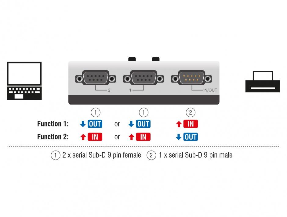 Imagine Switch serial RS-232 / RS-422 / RS-485 2 porturi manual, Delock 87729