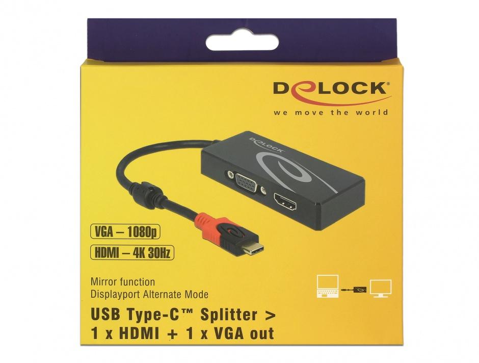 Imagine Adaptor USB tip C (DP Alt Mode) la 1 x HDMI + 1 x VGA, Delock 87730
