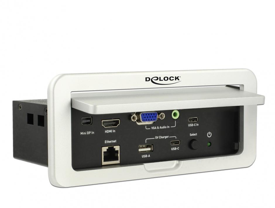 Imagine Convertor Multi audio-video (Mini Displayport, HDMI, VGA, Gigabit) la HDMI 4K 60Hz montare in masa, Delock 87733