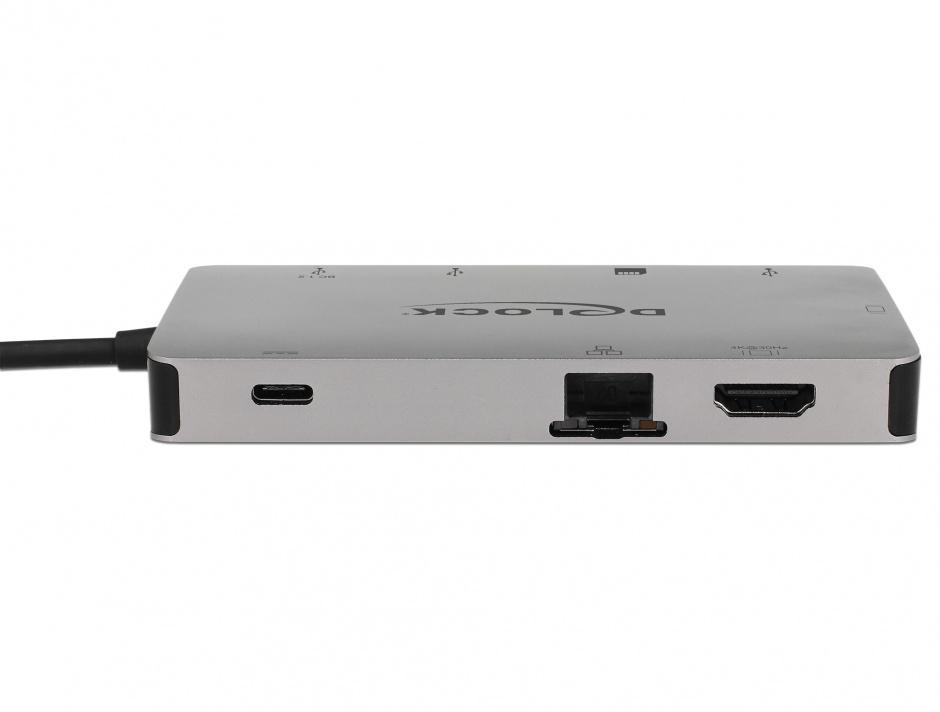 Imagine Docking Station USB-C la HDMI 4K / VGA / USB 3.1 / SD / LAN / PD 3.0, Delock 87735