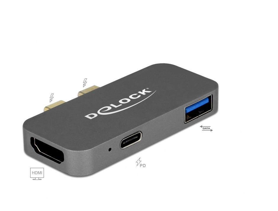 Imagine Mini docking station pentru Macbook 2 x Thunderbolt 3/USB-C la 1 x HDMI, 1 x USB-A, 1 x USB-C 5K, Delock 87739