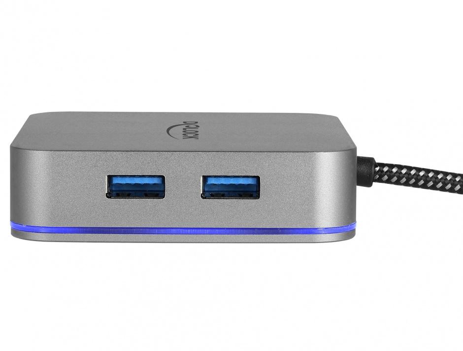 Imagine Docking Station pentru dispozitive mobile USB-C la HDMI 4K/ Hub / LAN / PD 3.0 cu LED, Delock 87742