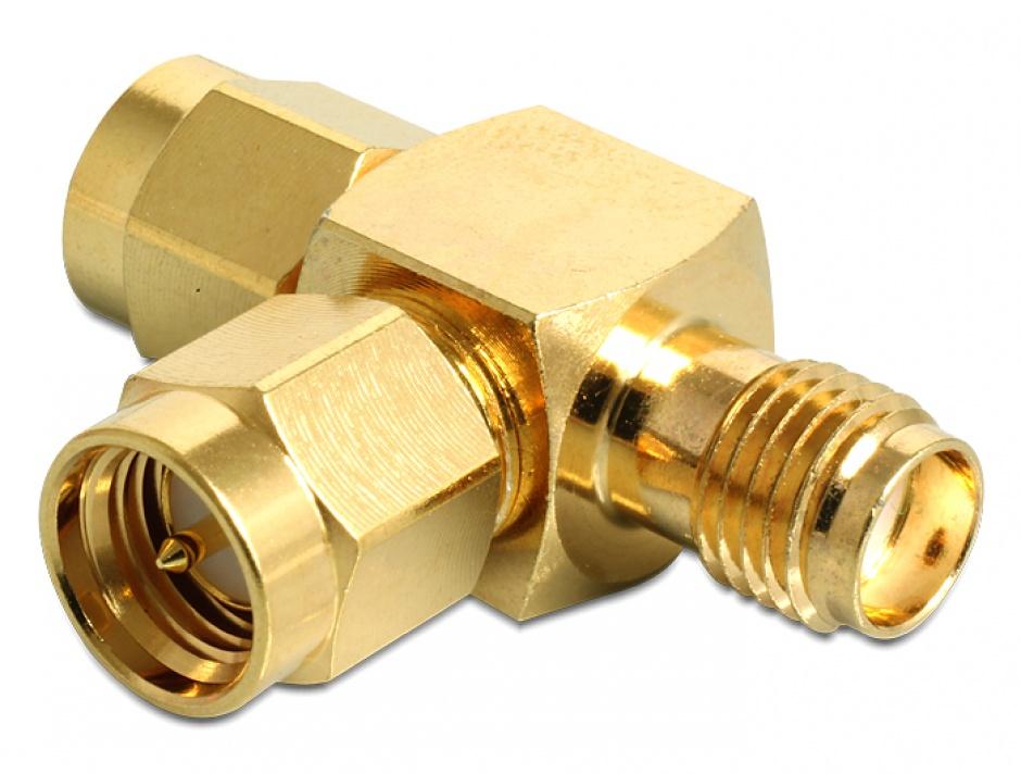 "Imagine Adaptor ""forma T"" SMA plug la SMA plug la SMA jack, Delock 88710"