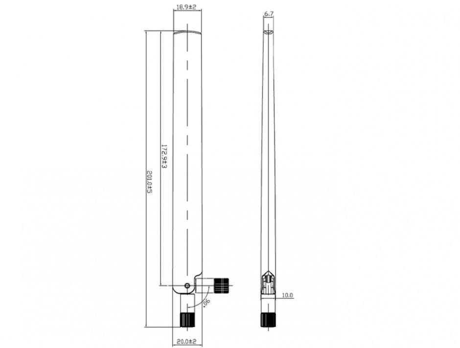 Imagine Antena WLAN RP-SMA 802.11 ac/a/h/b/g/n 3 ~ 6 dBi Omnidirectionala, Delock 88900